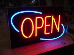Open Neon Sign (Blue & Red)